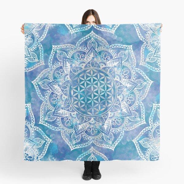 Blume des Lebens in Lotus - Aquarellblau Tuch