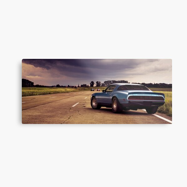 A blue Pontiac Firebird Trans Am Metal Print