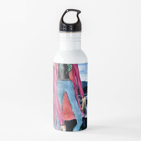 Time To Hit the Road Fashion Illustration Water Bottle