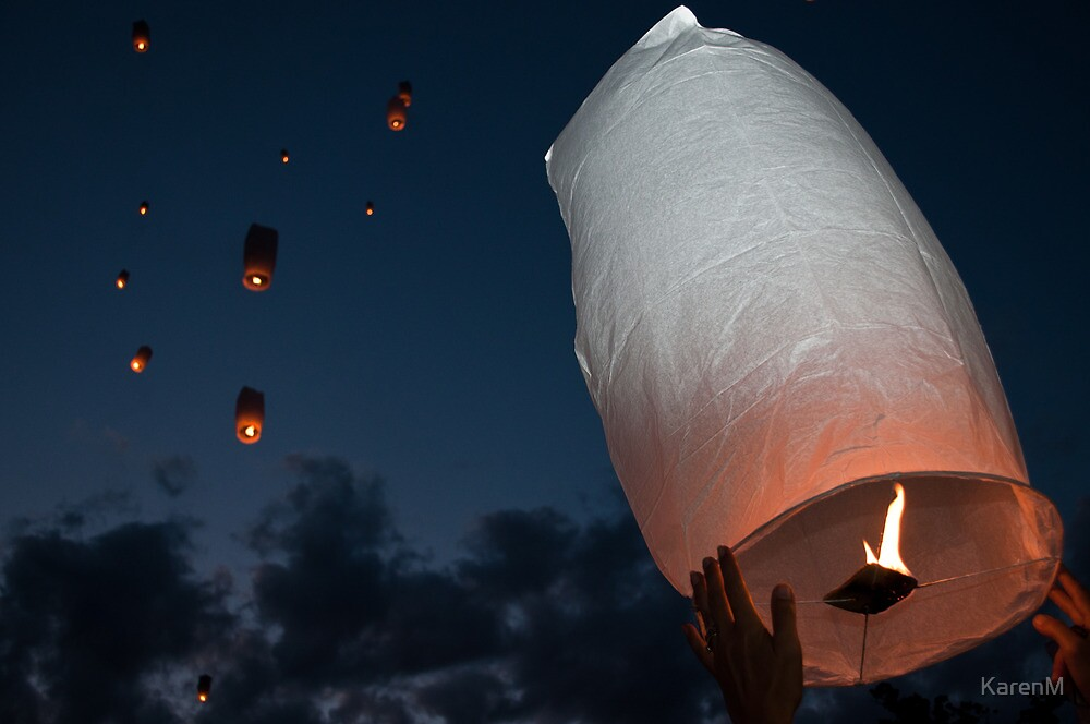 Letting Go - Paper Lanterns by KarenM