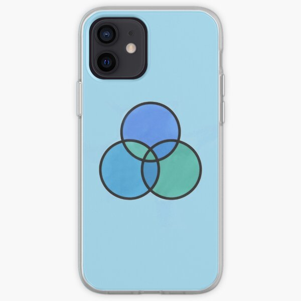 shades of green and blue circles iPhone Soft Case
