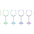 Wine Glasses Rainbow by Sabine Jacobs
