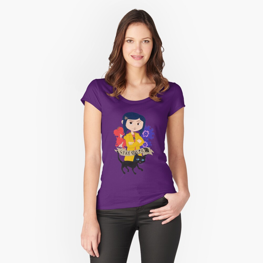 Stay Weird With Coraline Women S Fitted Scoop T Shirt By Onoitssarah Redbubble