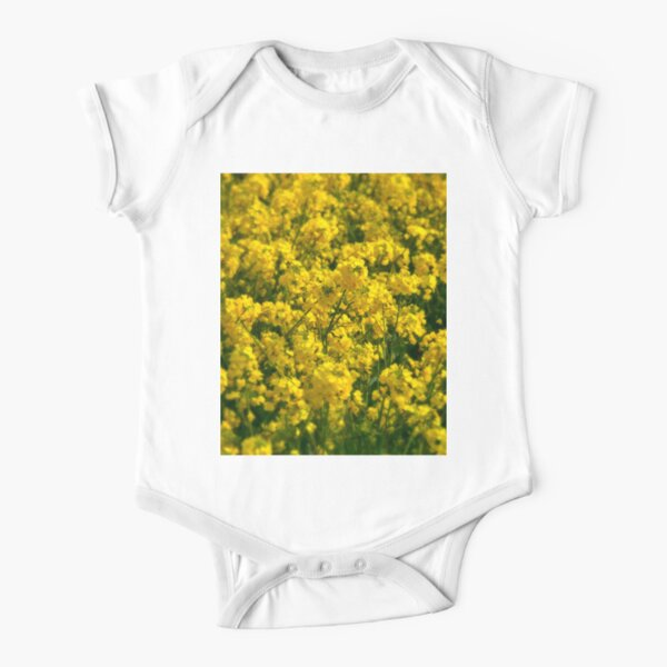 Happy Golden Yellow Rapeseed Flowers photo Short Sleeve Baby One-Piece