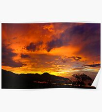 Fiery sunset in Guanacaste, Costa Rica Poster