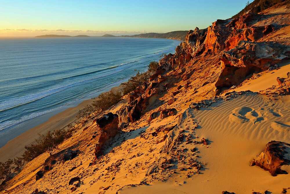 Coloured Sands at sunrise. Rainbow Beach, Queensland, Australia. by Ralph de Zilva