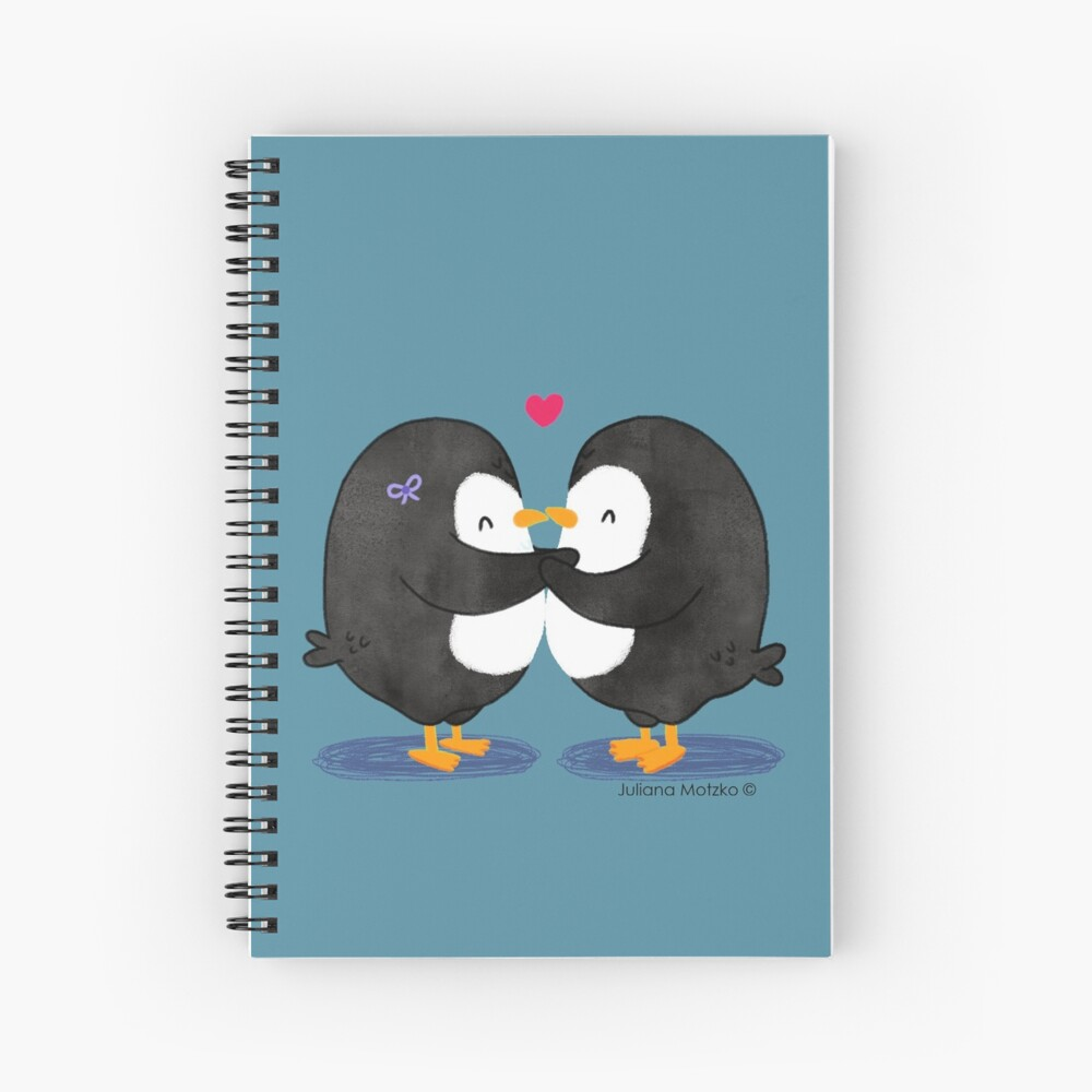 Falling in Love Penguins Spiral Notebook