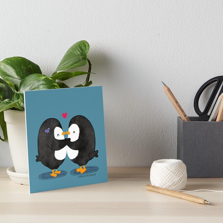 Falling in Love Penguins Art Board Print
