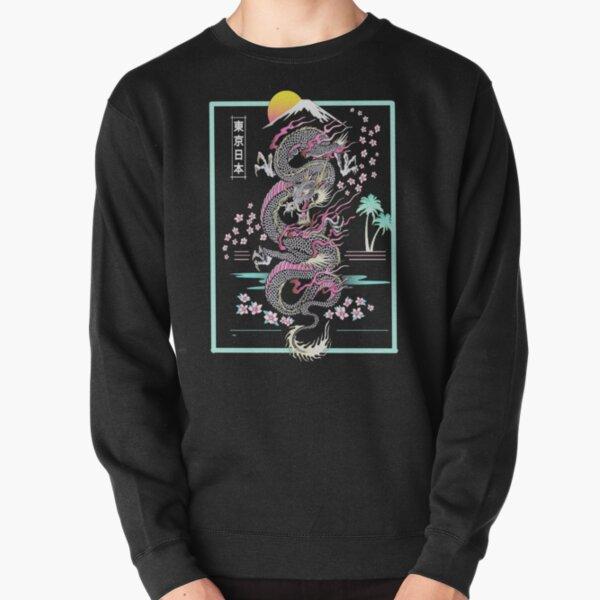 Synthwave Retrowave Japanese Dragon  Pullover Sweatshirt