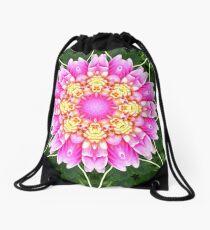 PINK DAHLIA MANDALA Drawstring Bag