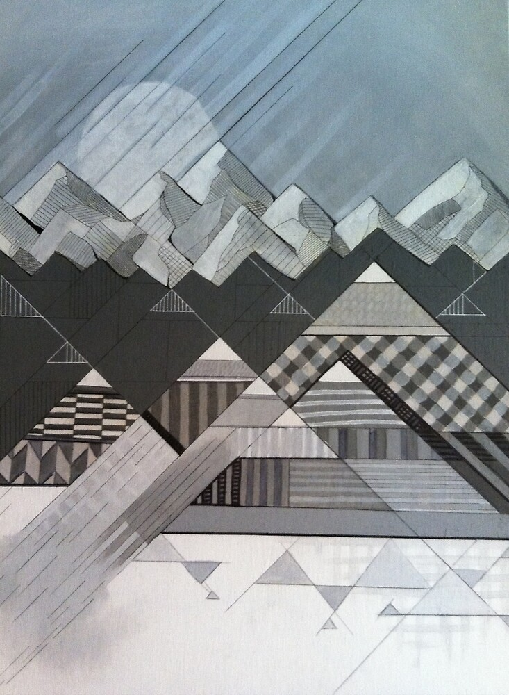 Geometry's Valley - inspired by mountain landscapes, geometry. acrylic and ink on wood by saracannon