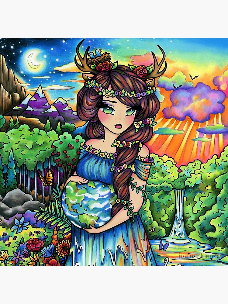 Mother Earth, Mother Nature Pregnant Fantasy Landscape Artwork by hannahlynnart