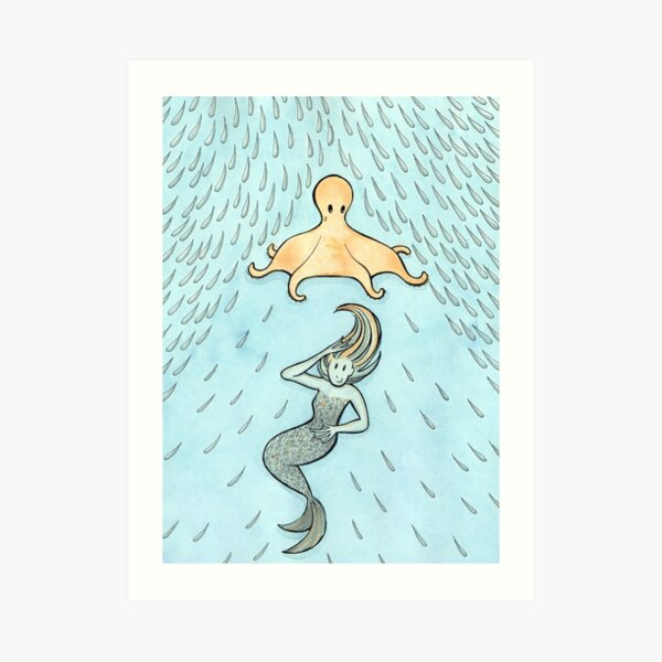 The Mermaid's Umbrella Art Print