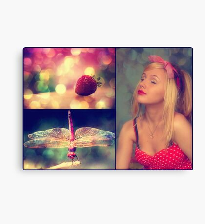 Strawberries and Dragonflies... Canvas Print