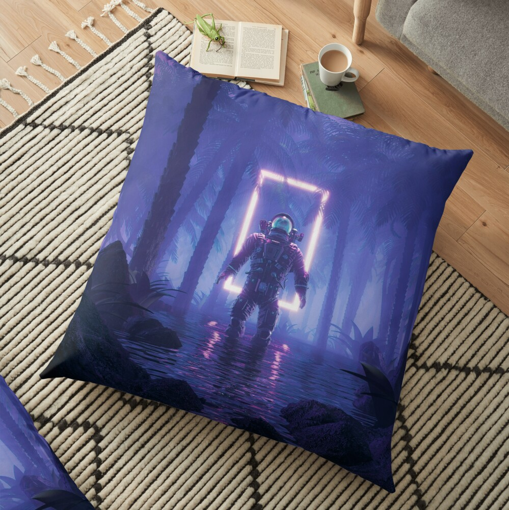 Lost In The Neon Jungle Floor Pillow