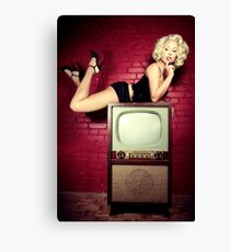 Blond on a TV Canvas Print