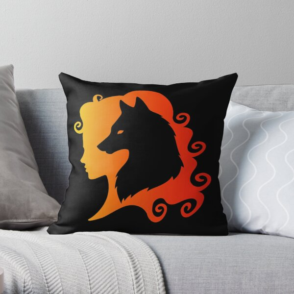 Fire Wolf Spirit Totem Animal Guide Cheeky Witch® Throw Pillow