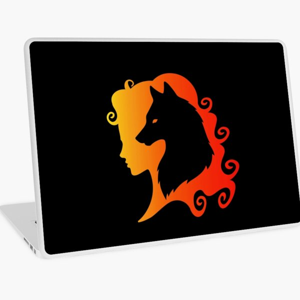 Fire Wolf Spirit Totem Animal Guide Cheeky Witch® Laptop Skin