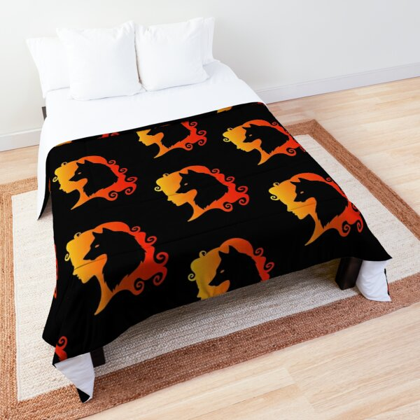 Fire Wolf Spirit Totem Animal Guide Cheeky Witch® Comforter