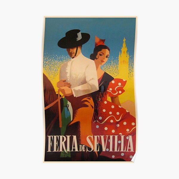 Feria de Sevilla, Spain, Colorful Vintage Travel Poster Poster
