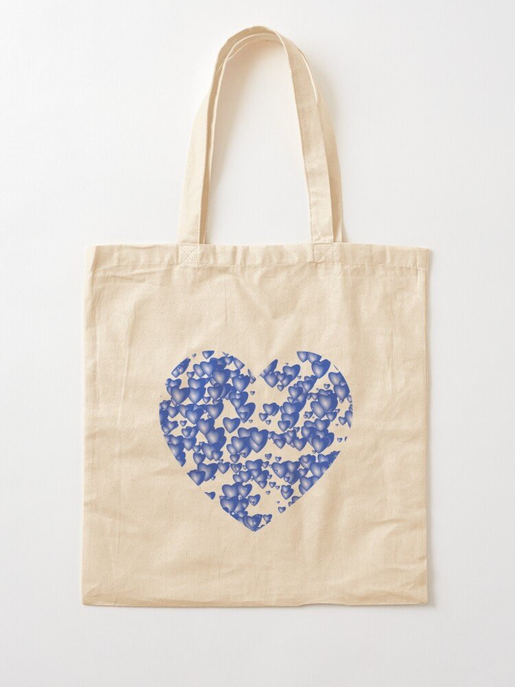 Alternate view of Blue heart pattern Tote Bag