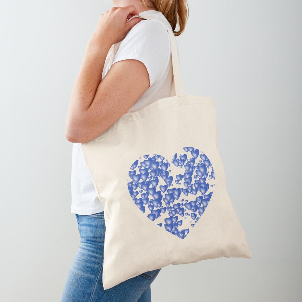 Blue heart pattern Tote Bag