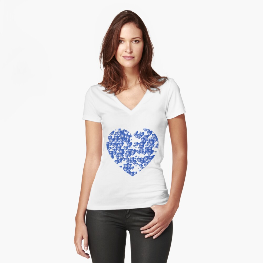 Blue heart pattern Fitted V-Neck T-Shirt