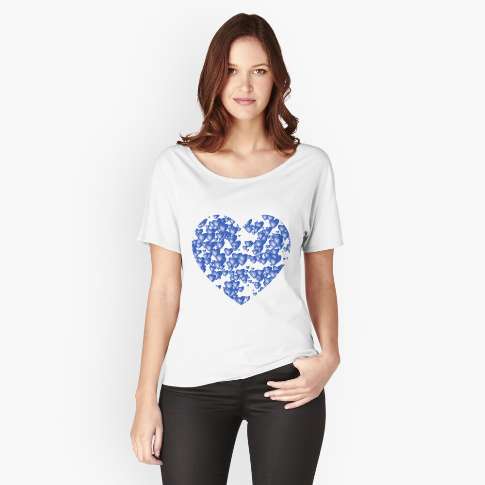 Blue heart pattern Relaxed Fit T-Shirt