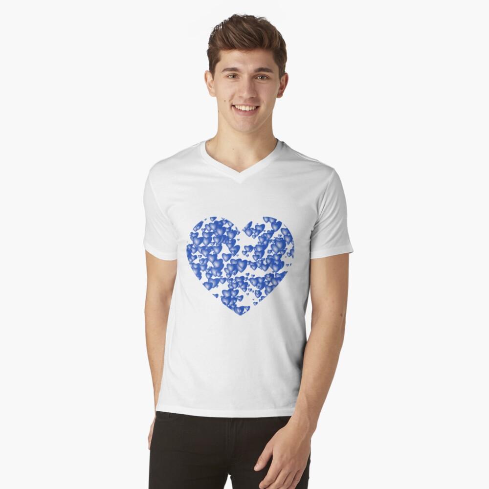 Blue heart pattern V-Neck T-Shirt