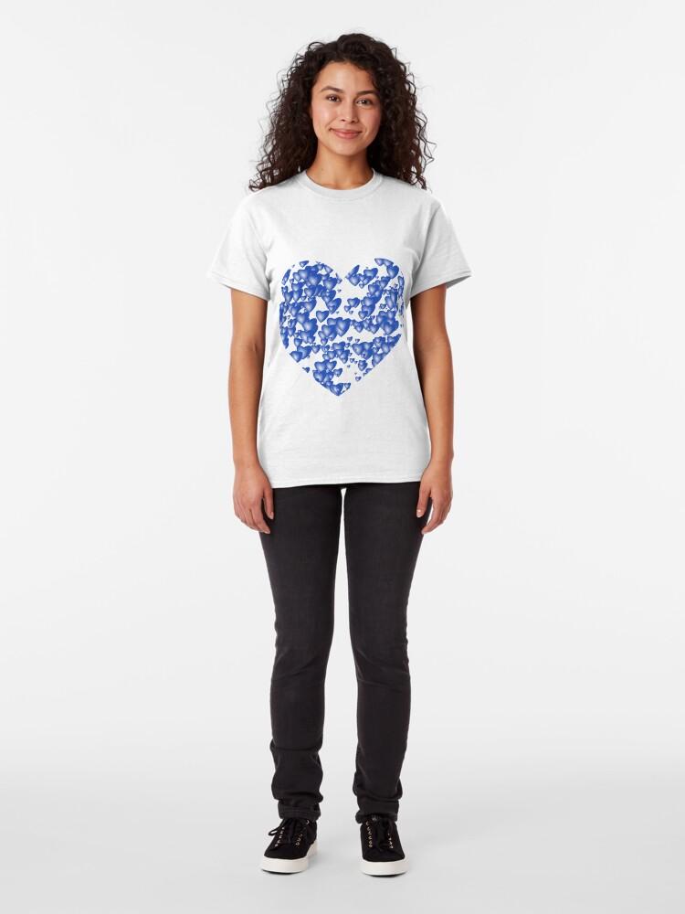 Alternate view of Blue heart pattern Classic T-Shirt