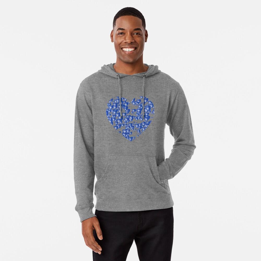Blue heart pattern Lightweight Hoodie