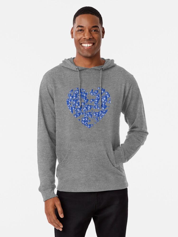 Alternate view of Blue heart pattern Lightweight Hoodie