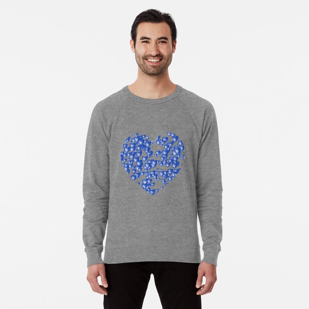 Blue heart pattern Lightweight Sweatshirt