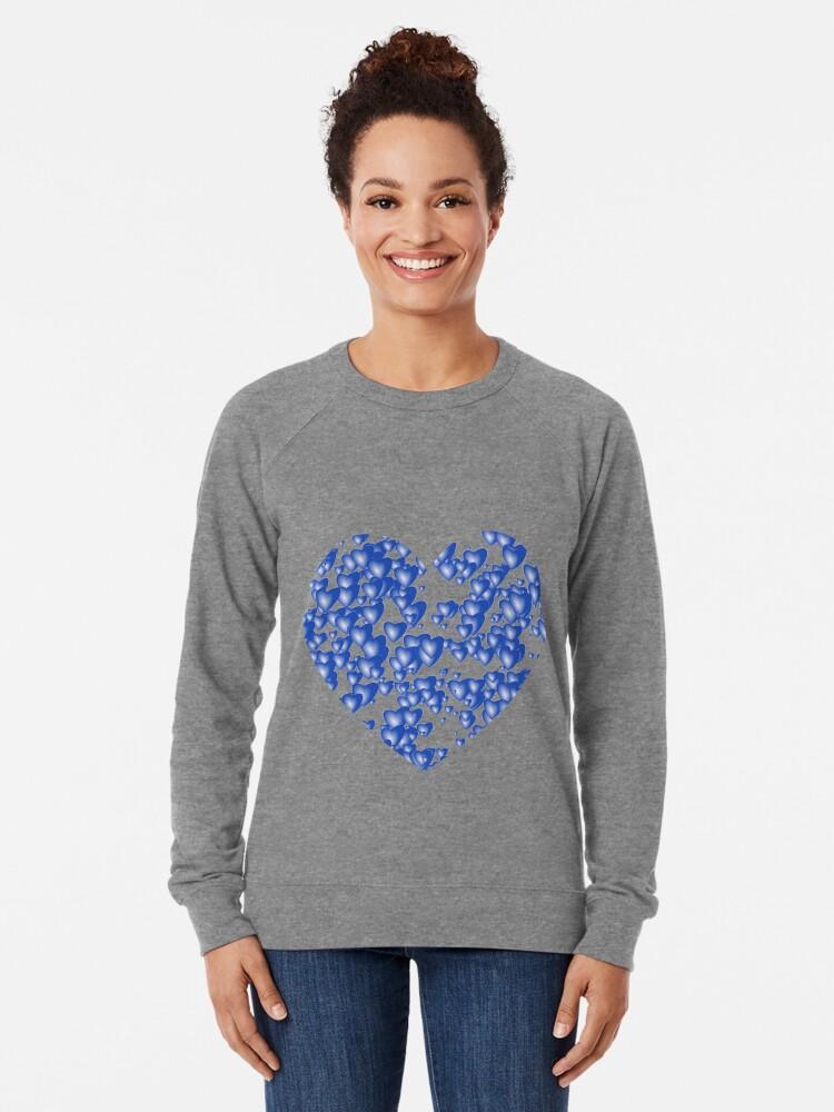 Alternate view of Blue heart pattern Lightweight Sweatshirt