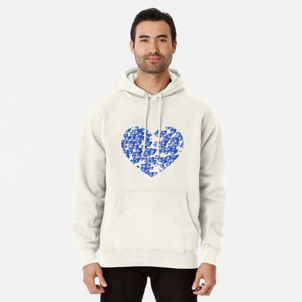 Blue heart pattern Pullover Hoodie