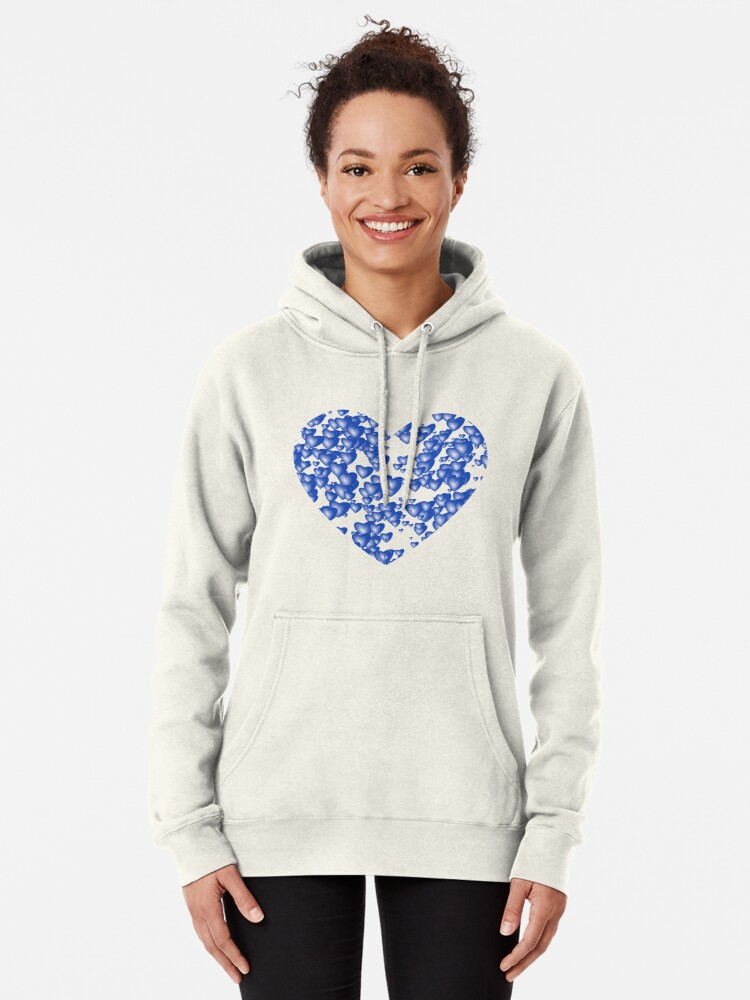Alternate view of Blue heart pattern Pullover Hoodie