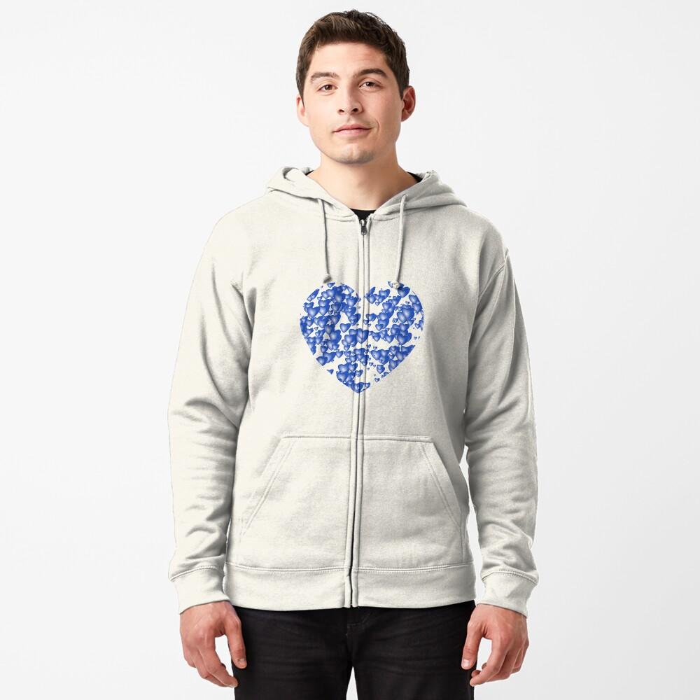 Blue heart pattern Zipped Hoodie