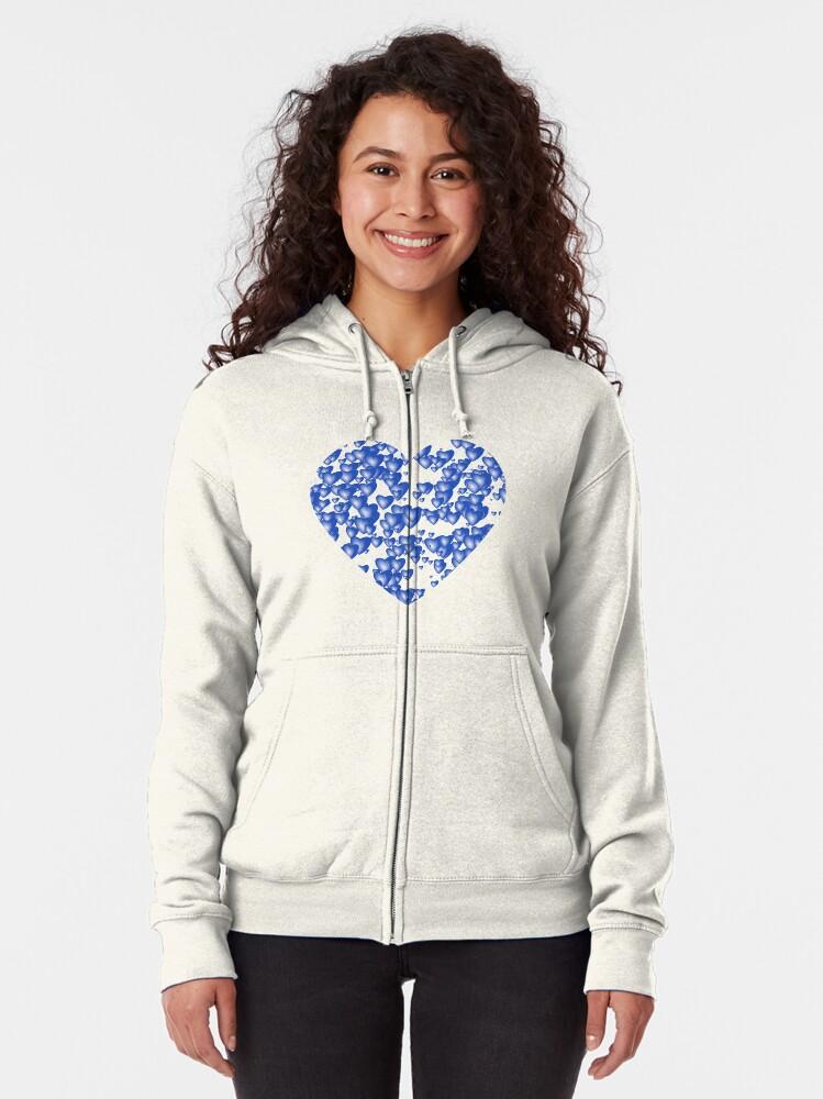Alternate view of Blue heart pattern Zipped Hoodie