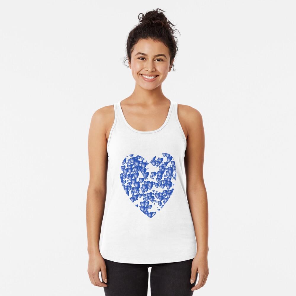 Blue heart pattern Racerback Tank Top
