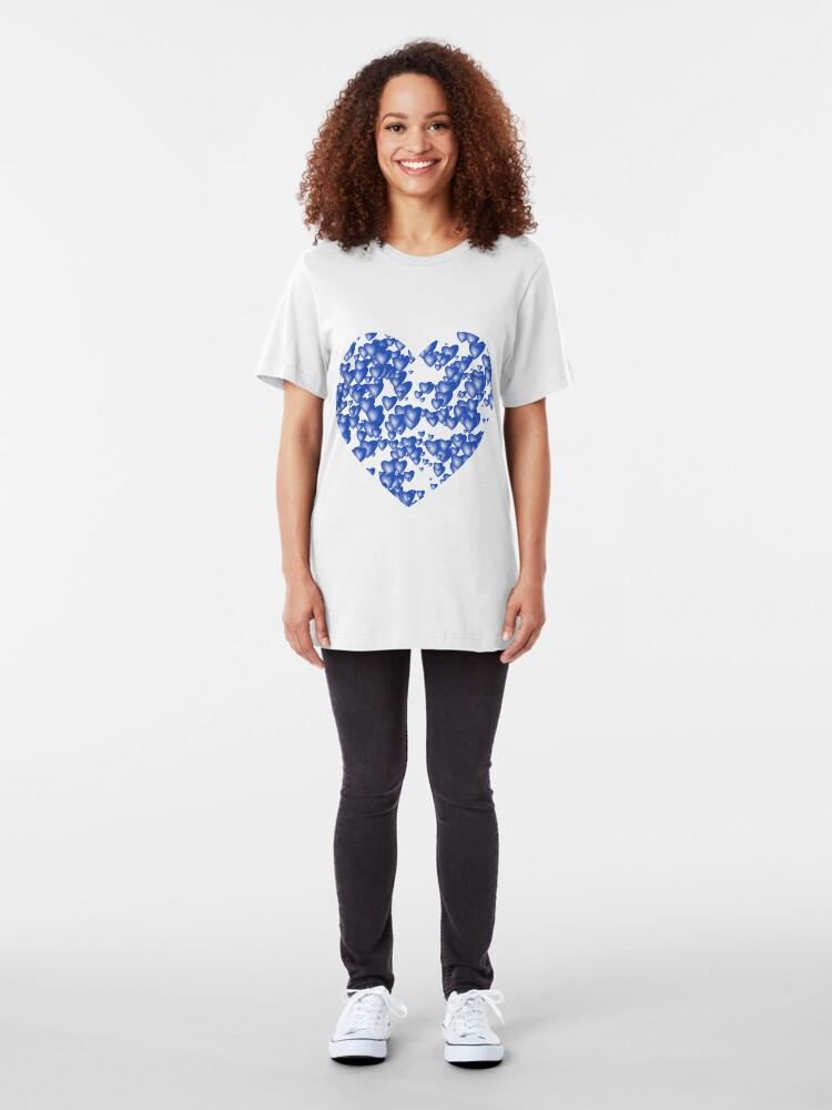 Alternate view of Blue heart pattern Slim Fit T-Shirt