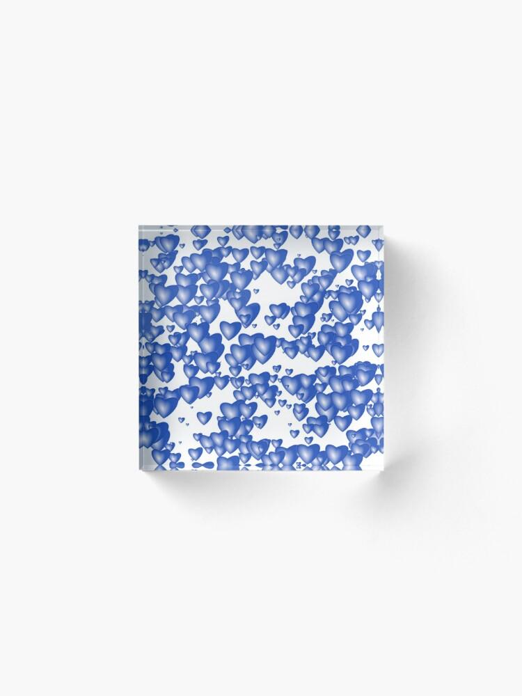 Alternate view of Blue heart pattern Acrylic Block