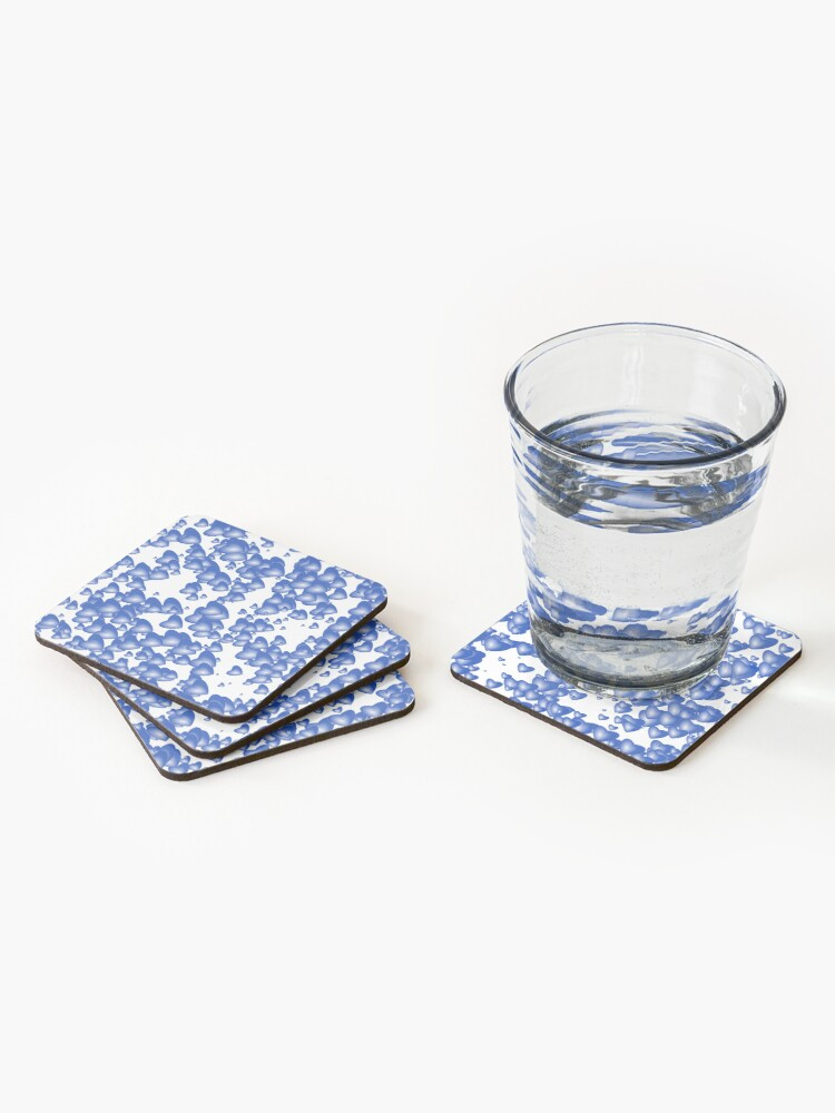 Alternate view of Blue heart pattern Coasters (Set of 4)