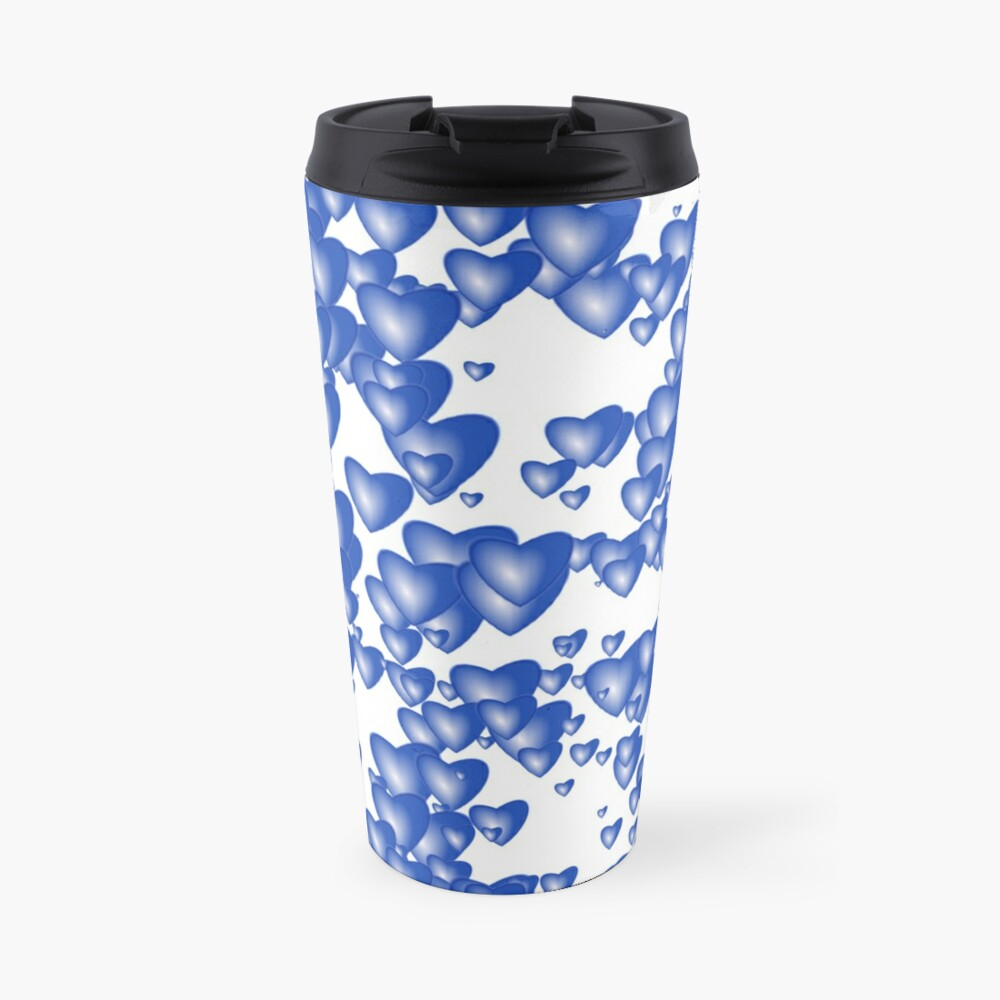 Blue heart pattern Travel Mug