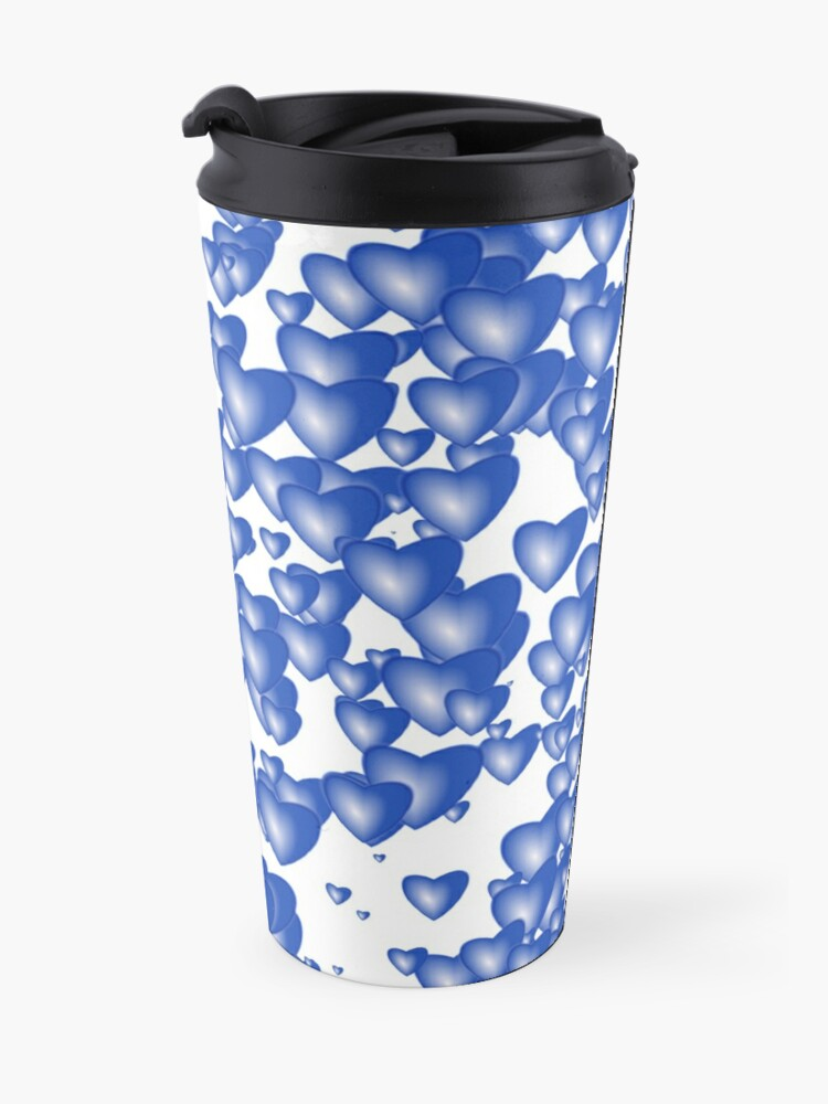 Alternate view of Blue heart pattern Travel Mug