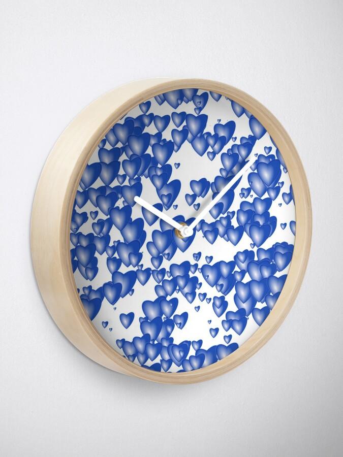 Alternate view of Blue heart pattern Clock