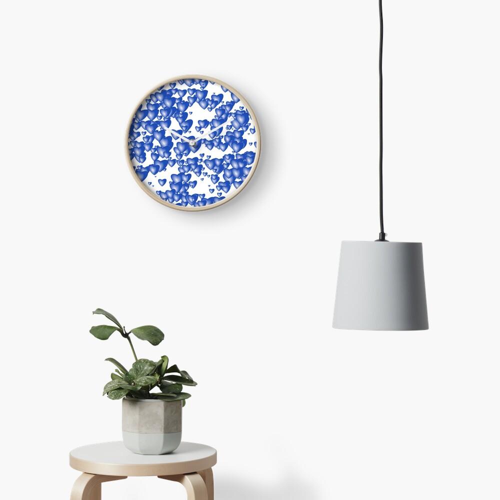 Blue heart pattern Clock