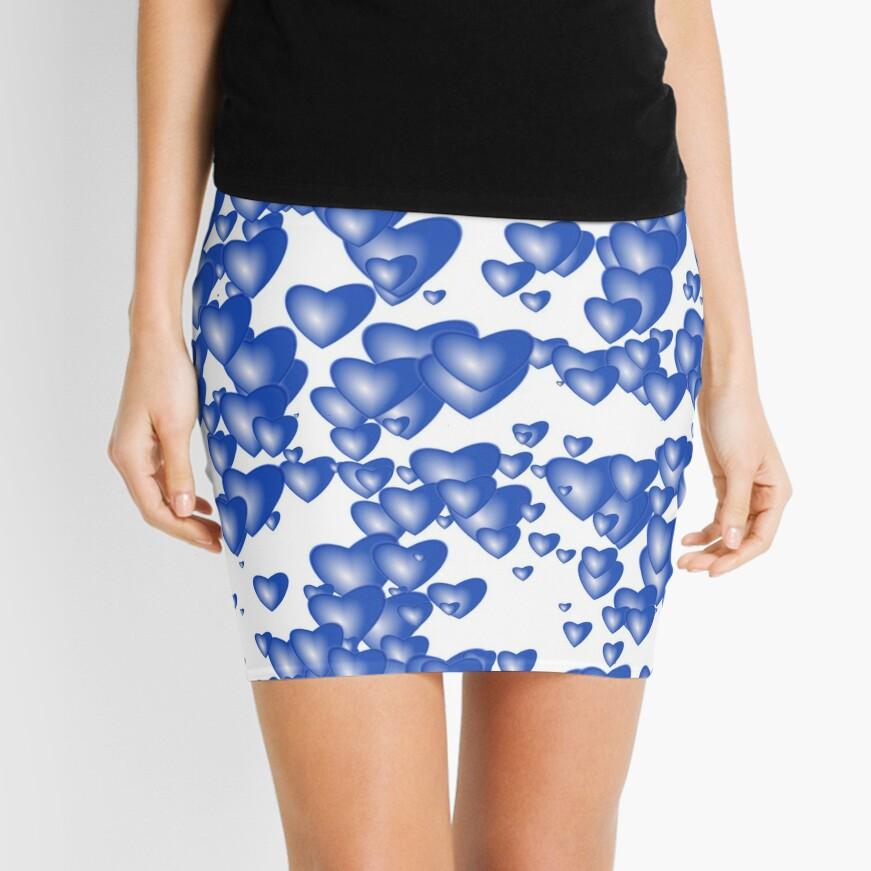 Blue heart pattern Mini Skirt
