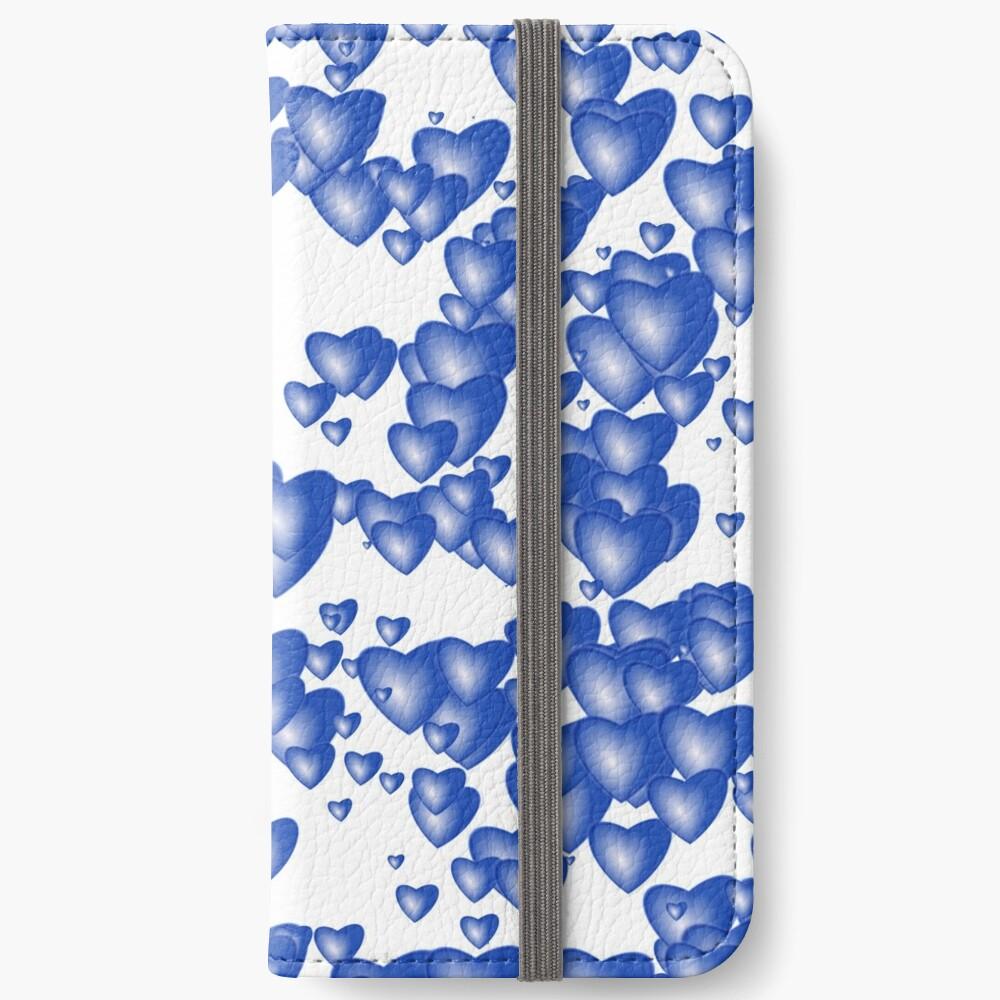 Blue heart pattern iPhone Wallet