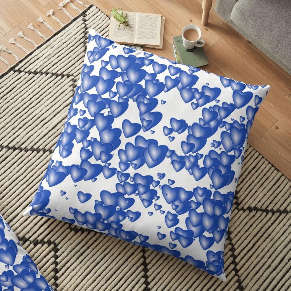 Blue heart pattern Floor Pillow