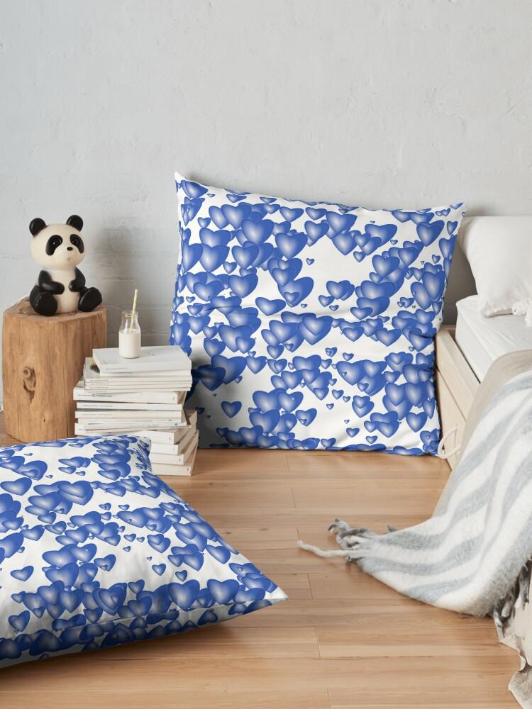 Alternate view of Blue heart pattern Floor Pillow